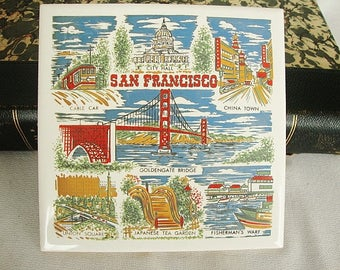 vintage san francisco ceramic tile trivet wall plaque