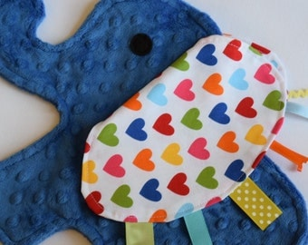 Spree Heart Royal Blue Elephant Shaped Blanket Sensory Lovey - Icing On The Cupcake