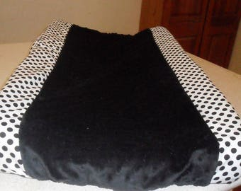 White and Black Polka Dots with Black Minky Dot Changing Pad Cover CHOICE OF MINKY