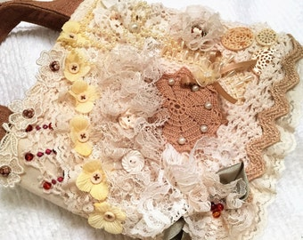 Fabric Gift Bag, Keepsake Gift Tote, Fabric Art Tote, Shabby Chic, Wedding Gift Wrap, Embellished Tote Bag