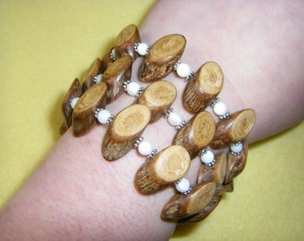 Mother of Pearl and Natural Wood Twig Beaded Wrap Bracelet with silver plated rondelle beads, handmade memory wire bracelet