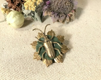Beetle Brooch Brass Beetle Pin Flower Brooch Scarab Pin Vintage Button Insect Bug Brooch Entomologist Gift Woodland Insect Lapel Sweater Pin