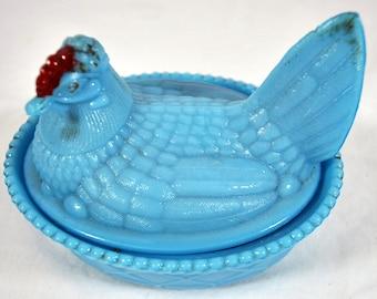 Vintage Blue Slag Milk Glass Hen on Nest Westmoreland Chicken - Split Tail Basketweave - Red Comb