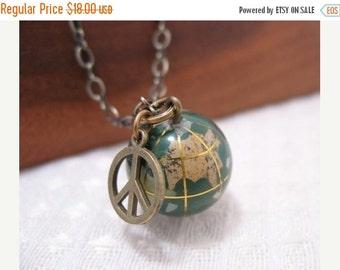 SALE Give Peace A Chance World Globe Necklace