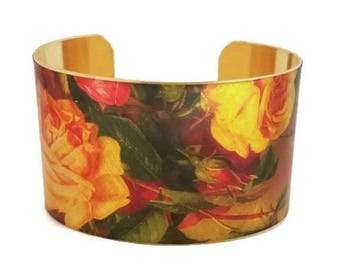 Roses Pink Yellow adjustable cuff bracelet Vintage style brass Gifts for her aluminum
