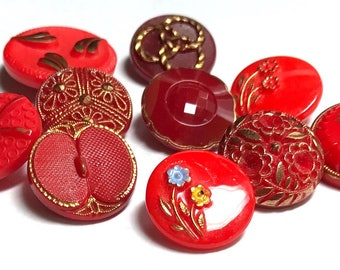 Group Of 10 Vintage Glass Buttons - Reds With Gold Luster