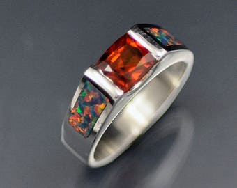 Sterling Silver Hessonite Garnet and Opal Inlay Ring