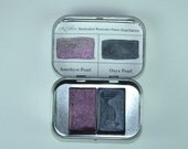Pocket Pearls Duo Palette, Anthesis Arts Artisanal Handcrafted Watercolor Paints, Traditional Full Pans, Travel Set of Two
