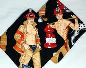 Hot Dishes - Sexy Shirtless Fire Fighter Pot Holders