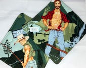 Hot Dishes - Outdoorsy Type - Lumberjack - Mountain Man - Pot Holders - Oven Mitt - Hot Pad - Pinup - Beefcake - Fisherman - Lumbersexual