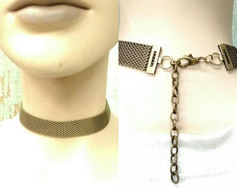 Hand Made Brass Ox Plated Mesh Chain Choker 6015BOX x1