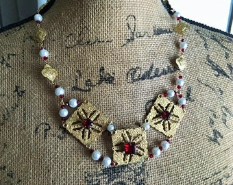 Chain Necklace Medieval Renaissance Fantasy Steampunk Gold Plated Filigree Medallions Faux Garnets and Glass Pearls