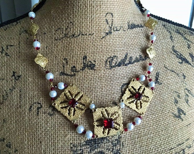 Featured listing image: Chain Necklace Medieval Renaissance Fantasy Steampunk Gold Plated Filigree Medallions Faux Garnets and Glass Pearls