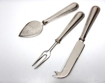 Cheese Knives Set - Vintage Serving Cutlery - Set of 3 - Knife Fork