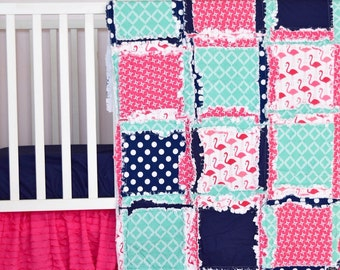 Flamingo Nursery Baby Girl Rag Quilt- Navy/ Mint / Pink Girls Bedding- Modern Crib Bedding Nursery Decor- Flamingo Crib Comforter Girl Quilt