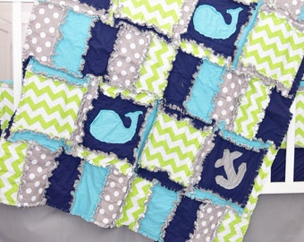 Nautical Baby Quilt - Turquoise / Gray / Navy Blue Bedding Anchor Baby Blanket- Whale Nursery- Coastal Bedding- Beach Nursery- Ocean Nursery