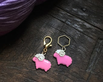 Charity Pink Enamel Sheep Knitting Stitch Marker / Progress Keeper