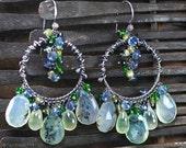 Season Clearance Sale Dendritic Peruvian Opal earrings, Prehnite, Kyanite, Green Tourmaline, Vesuvianite earrings, oxidised 925 silver ...