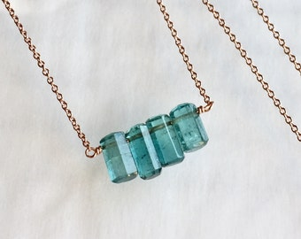 Blue Tourmaline Necklace in Rose Gold, Tourmaline Crystal Necklace, Trio of 4 Blue Tourmaline Necklace