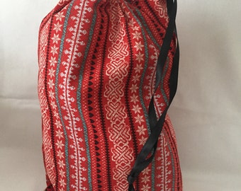 """Christmas Fabric Gift Bag  Eco Friendly Drawstring Bag----Reuseable size 10"""" wide x 13"""" tall  Red Snowflakes and Stars"""