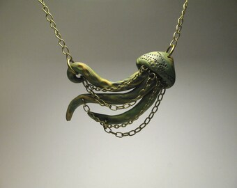 Green Jellyfish Necklace - Polymer Clay Jewelry