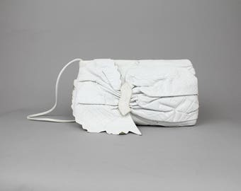Vintage 1980s Colini Leather Purse | White Leather Rosette Envelope Clutch Bag | Large Soft Leather Shoulder Bag