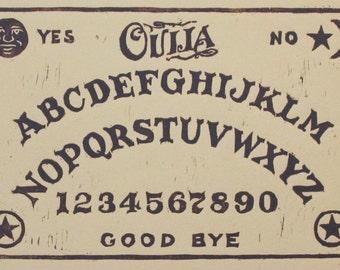 ouija board block print / spirit board / talking board / original prints / halloween gifts / vintage halloween