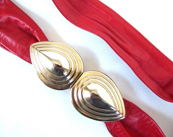 Vintage 1980's Red Leather Belt, Revcor Double Teardrop Buckle, Fits up to Modern Size 10, Extra Small to Medium