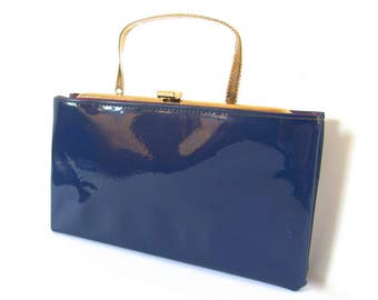 Vintage Blue Purse with Faux Gold Ribbon Handle, Handbag or Clutch