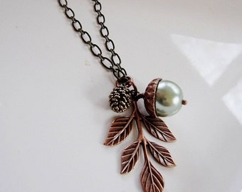 Bronze Acorn Leaf Necklace, Botanical Necklace, Green Pearl Pinecone Necklace, Antique Brass, Vintage Style Necklace, Gardendiva