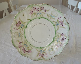 Royal Stafford Large Serving Plate Hand Painted Green Purple Violets Spring Colours 2 Available Like Foley Shelley Style - EnglishPreserves