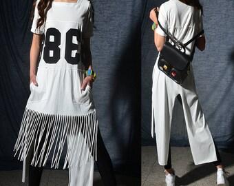 38 - slogan t-shirt dress / asymmetrical fringed cotton tunic dress/ extravagant jumpsuit / dior feminist short sleeve maxi dress (Y2046x)