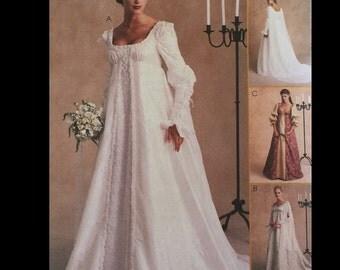 Ren Goth Princess Seam Historial Reenactor Renaissance Alicyn Wedding Dress Gown Sewing Pattern 2645 12 14 16