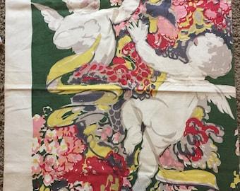 "Vintage  Scalamandre Silks Hand Painted Cupid Fabric #2 35 1.=/2"" x 24"""