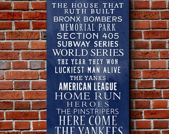 Yankee  Bus Roll Baseball Wall Art Home decor sports 10x20 inch STOCK Typography Canvas