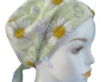 Green Floral Butterfly Chemo Cancer Hair Loss Scarf Turban Hat Bad Hair Day Headcover Hairwrap