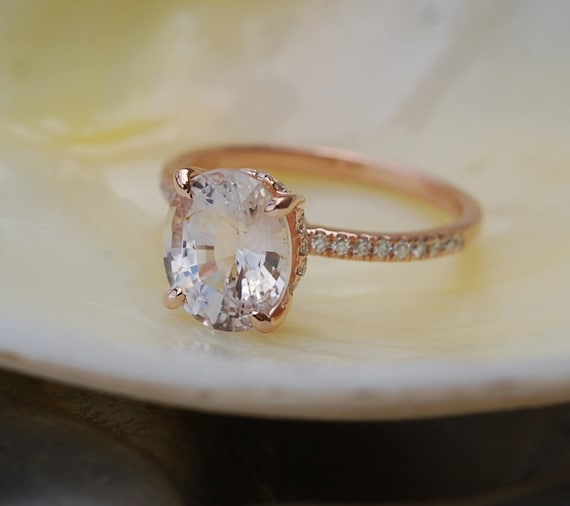 Blake Lively ring White Sapphire Engagement Ring oval cut 14k rose gold diamond ring 2.44ct White sapphire ring
