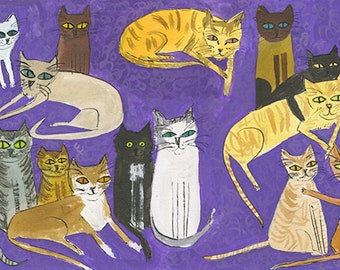 Felicitous Felines.   Original watercolor painting by Vivienne Strauss.