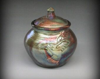 Raku Urn or Lidded Pot with Hummingbird in Metallic Iridescent Colors