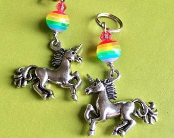 Majestic as F*ck! Totally Rad Single Unicorn Rainbow Sparkle Stitch Marker