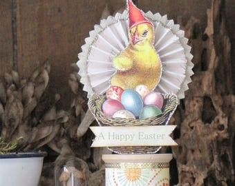 Vintage Victorian Inspired Easter Chick on a Spool Rosette with a Basket of Painted Eggs