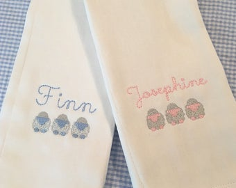 Monogrammed Name Sheep Burp Cloth Embroidered Custom Baby