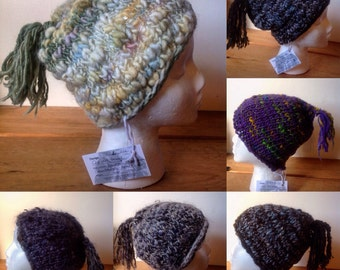 Simple beanie style hats with tassels - knit with handspun yarn