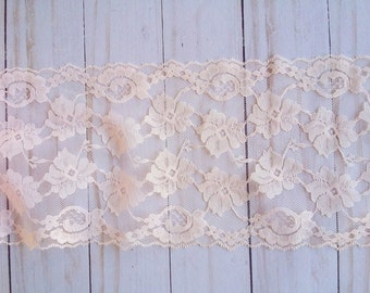 Light Pink Double Scallop 5 inch wide Floral Lace,for wedding,home decor,apparel, mixed media,crafts