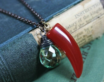 SALE - Carnelian Horn and Green Quartz Hand Wrapped Gunmetal Necklace