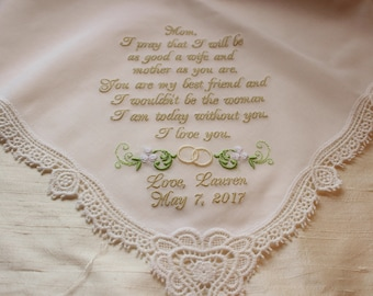 Ivory or White Custom Embroidered Mother of the Bride Wedding Handlkerchief