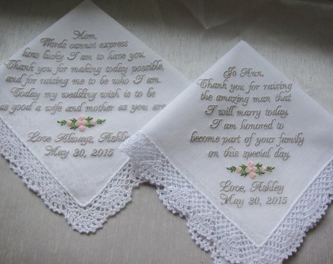 Wedding Handkerchief Set of Two/Mother of the Bride/Mother of the Groom/Wedding Handkerchiefs/Wedding Handkerchief Bride/Embroidered Hankies