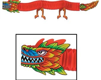 Hanging Asian Tissue Dragon 6 Ft