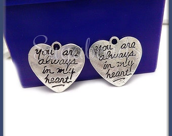 6 Silver Stamped Heart Charms, You Are Always in my Heart, Heart Charms, 21mm PS35