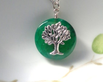 Green Necklace, Dragon Vein Agate Necklace, Agate Necklace, Tree of life Necklace, Green Pendant Necklace Gemstone Necklace Green Stone